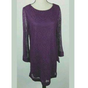 Tacera Purple Shift Dress Lace Long Sleeve Hippie